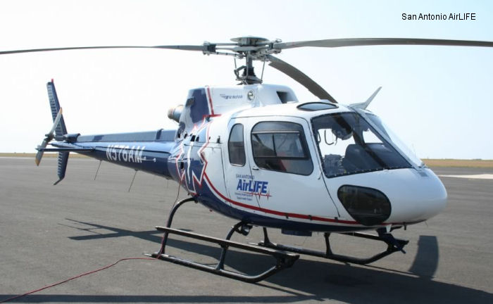 Helicopter Eurocopter AS350B2 Ecureuil Serial 4418 Register N576AM used by State of New York Air Methods Life Flight State of Texas. Built 2008. Aircraft history and location