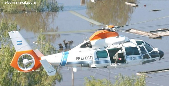 Helicopter Eurocopter AS365N2 Dauphin 2 Serial 6483 Register PA-40 used by Prefectura Naval Argentina PNA (Argentine Coast Guard). Aircraft history and location