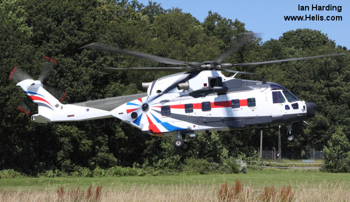 Helicopter AgustaWestland EH101 Mk.512 Serial 50160 Register ZK001 M-511 used by Fleet Air Arm (Royal Navy) Royal Air Force Flyvevåbnet (Royal Danish Air Force) AgustaWestland UK. Built 2006. Aircraft history and location