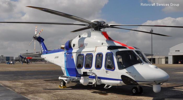 Helicopter AgustaWestland AW139 Serial 31237 Register JA91NH used by All Nippon Helicopter Mitsui Bussan Aerospace. Built 2009. Aircraft history and location