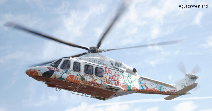 Helicopter AgustaWestland AW139 Serial 31502 Register ZS-EOS used by Fireblade Aviation. Built 2013. Aircraft history