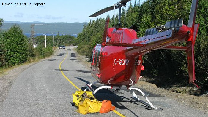 Helicopter Bell 206L Long Ranger Serial 46607 Register C-GCHP used by Newfoundland Helicopters ,Canadian Coast Guard. Built 1978. Aircraft history and location