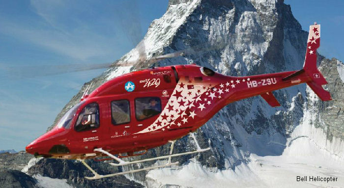 Helicopter Bell 429 Serial 57067 Register HB-ZSU N452SR used by Air Zermatt AG ,Bell Helicopter. Built 2011. Aircraft history and location
