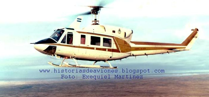 Helicopter Bell 212 Serial 30825 Register C-GXTF N212RT LQ-CHP used by Helicopter Transport Services Canada HTSC ,Fuerza Aerea Argentina FAA (Argentine Air Force) ,Gobiernos Provinciales Gobierno de Chaco (Chaco Province Government). Built 1977. Aircraft history and location