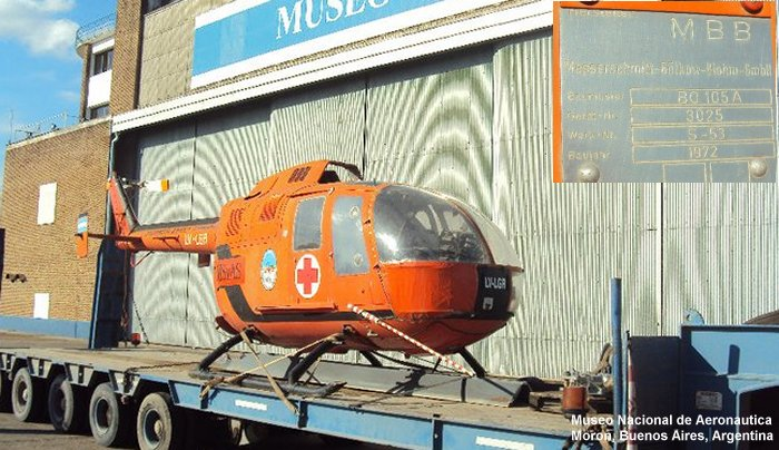 Helicopter MBB Bo105A Serial S-53 Register LV-LGR used by Gobierno Nacional (Federal Government). Built 1972. Aircraft history