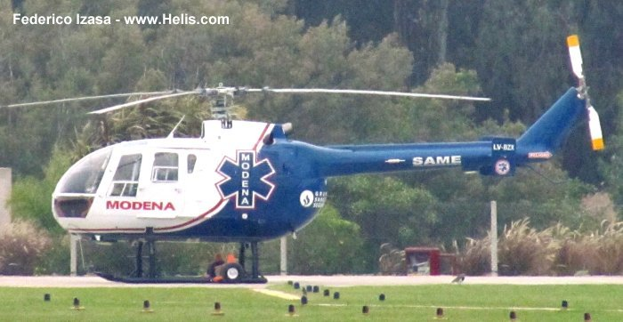 Helicopter MBB Bo105CBS-4 Serial S-754 Register D-HDXP LV-BZX N485EC N722MB used by MBB Modena Air Service US Helicopters Inc State of North Carolina. Built 1986. Aircraft history