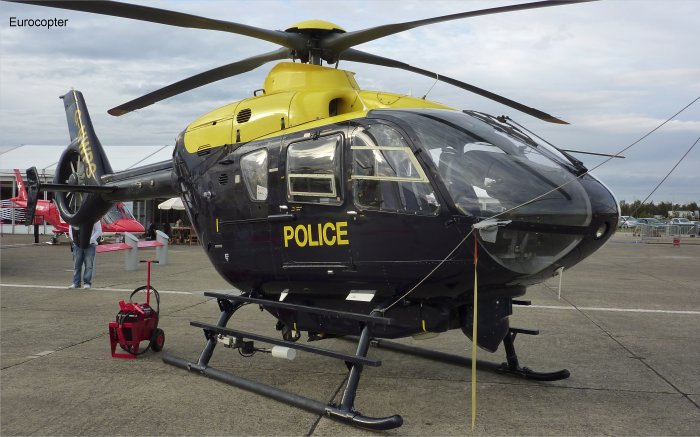 Helicopter Eurocopter EC135T1 Serial 0063 Register G-NWPS used by Patriot Aviation ,Veritair ,UK Police Forces ,McAlpine Helicopters. Built 1998. Aircraft history and location