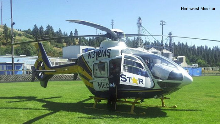 Helicopter Eurocopter EC135P1 Serial 0129 Register N312MS used by State of Washington. Built 1999. Aircraft history