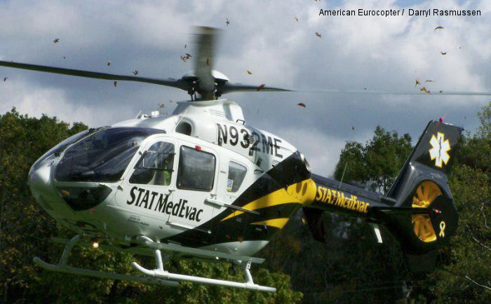 Helicopter Eurocopter EC135T2+ Serial 0922 Register N932ME used by STAT MedEvac ,American Eurocopter (Eurocopter USA). Built 2010. Aircraft history and location
