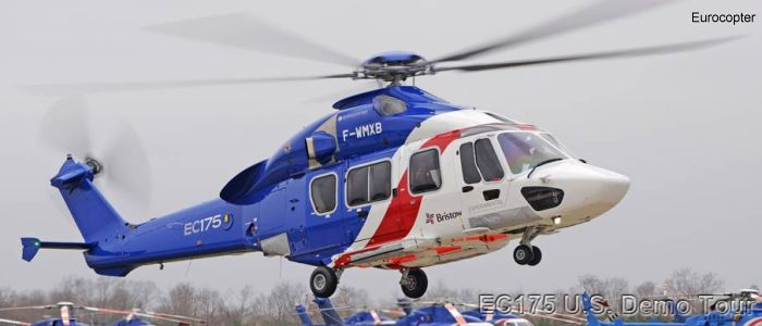Helicopter Airbus Helicopters H175 / EC175 Serial 5001 Register F-WMXB used by Eurocopter France. Aircraft history