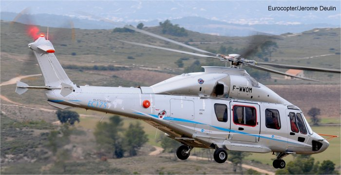 Helicopter Airbus Helicopters H175 / EC175 Serial 1003 Register F-WWOM used by Eurocopter France. Aircraft history