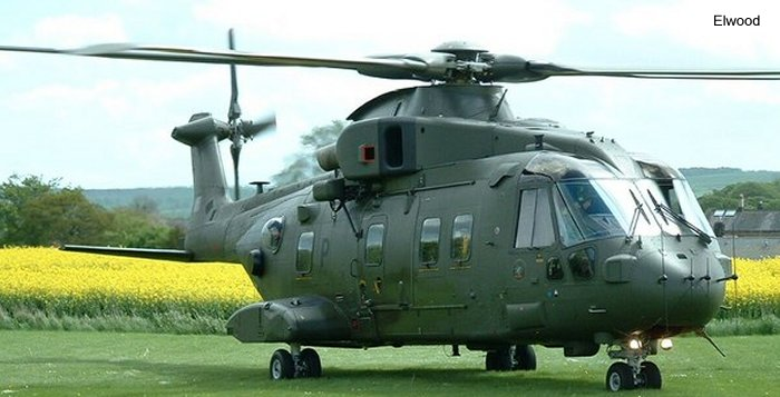 Helicopter AgustaWestland Merlin HC.3 Serial 50173 Register ZJ131 used by Fleet Air Arm RN (Royal Navy) ,Royal Air Force RAF. Built 2001. Aircraft history and location