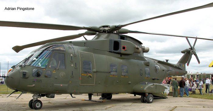 Helicopter AgustaWestland Merlin HC.3 Serial 50129 Register ZJ123 used by Royal Air Force RAF. Built 2000. Aircraft history and location