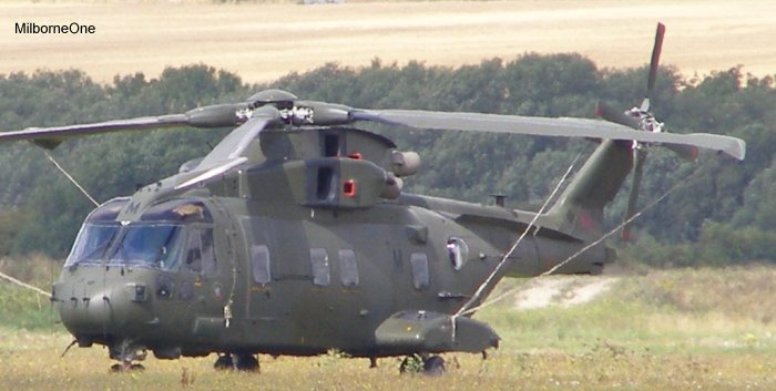 Helicopter AgustaWestland Merlin HC.3 Serial 50153 Register ZJ128 used by Fleet Air Arm RN (Royal Navy) ,Royal Air Force RAF. Built 2001. Aircraft history and location