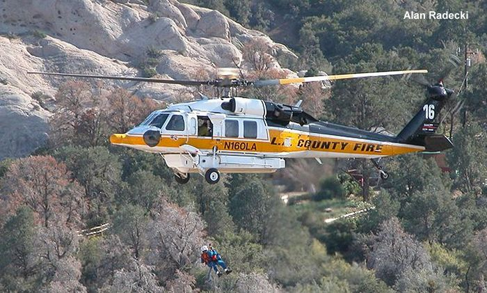 Helicopter Sikorsky S-70 Firehawk Serial 70-2453 Register N160LA used by LACoFD (Los Angeles County Fire Department). Built 2001. Aircraft history and location