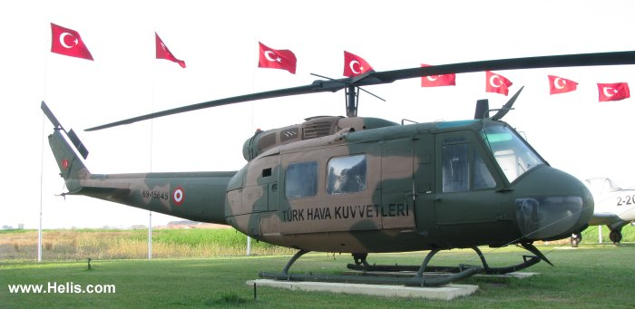 Helicopter Bell UH-1H Iroquois Serial 11933 Register 69-15645 used by Türk Hava Kuvvetleri (Turkish Air Force). Aircraft history and location