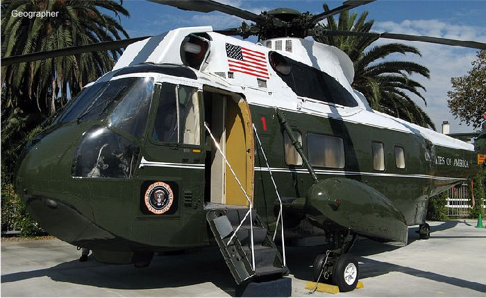 Helicopter Sikorsky VH-3A Sea King Serial 61-123 Register 150617 used by US Marine Corps USMC. Aircraft history and location