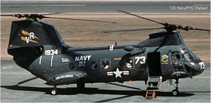 Helicopter Boeing-Vertol CH-46A Serial 2084 Register 151934 used by US Navy USN (United States Naval Aviation) ,US Marine Corps USMC. Built 1965. Aircraft history and location