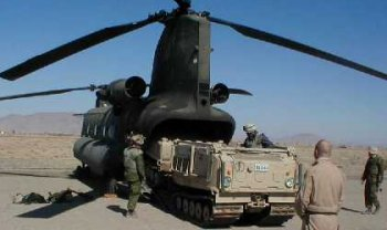 Canadian Bv206 vehicle on US army CH-47D in Afghanistan