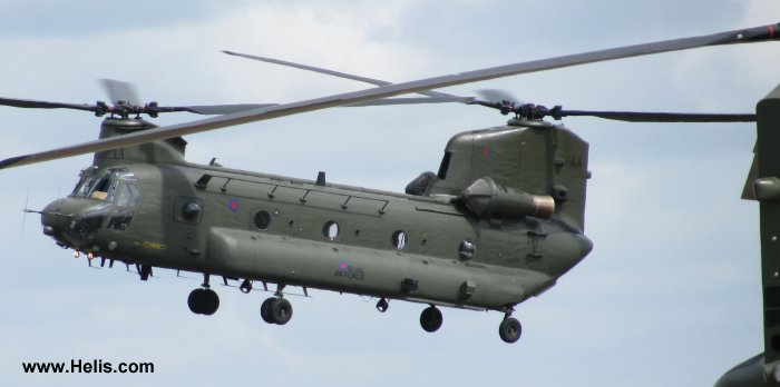 Helicopter Boeing CH-47D Chinook Serial M.7032 Register ZA670 used by Royal Air Force RAF. Built 1980. Aircraft history and location