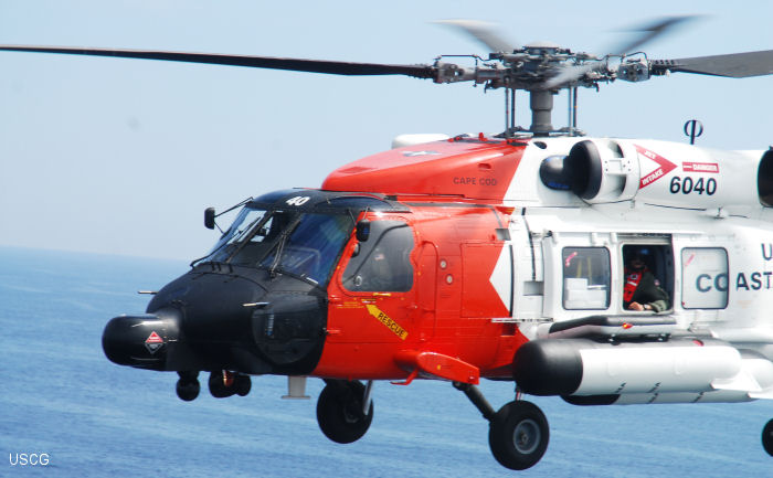 Helicopter Sikorsky HH-60J Jayhawk Serial 70-2281 Register 6040 used by US Coast Guard USCG. Aircraft history and location