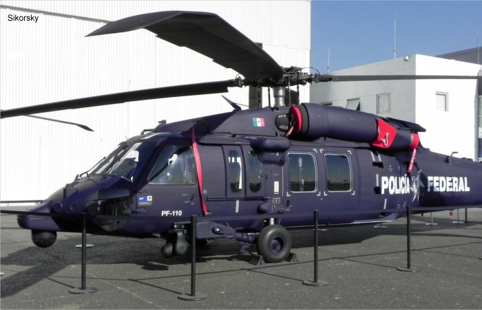 Helicopter Sikorsky UH-60M Black Hawk Serial unknown Register PF-110 used by Policia Federal de Mexico (Mexico Federal Police). Aircraft history