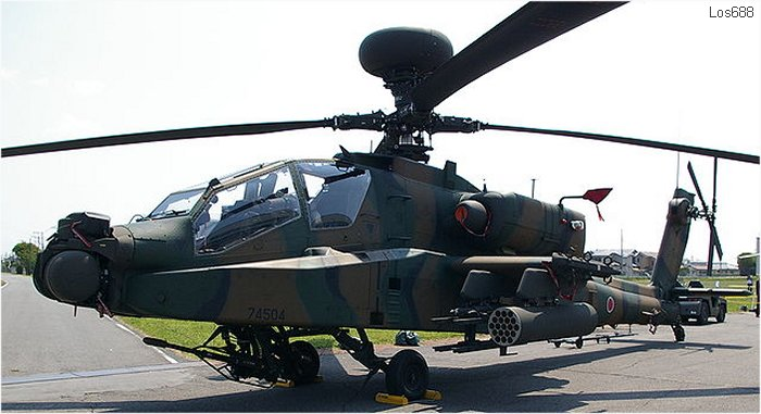 Helicopter Fuji  AH-64DJP Apache Serial JP004 Register 74504 used by Japan Ground Self-Defense Force (Japanese Army). Aircraft history and location