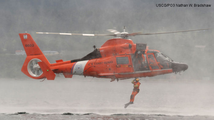 Helicopter Aerospatiale SA365N1 Dauphin 2 Serial 6324 Register 6603 JA9956 used by US Coast Guard Eurocopter Japan Excel Air Service. Aircraft history
