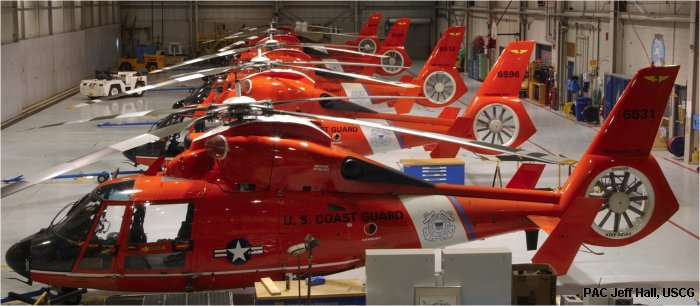 Helicopter Aerospatiale HH-65 Dolphin Serial 6177 Register 6531 used by US Coast Guard. Aircraft history and location