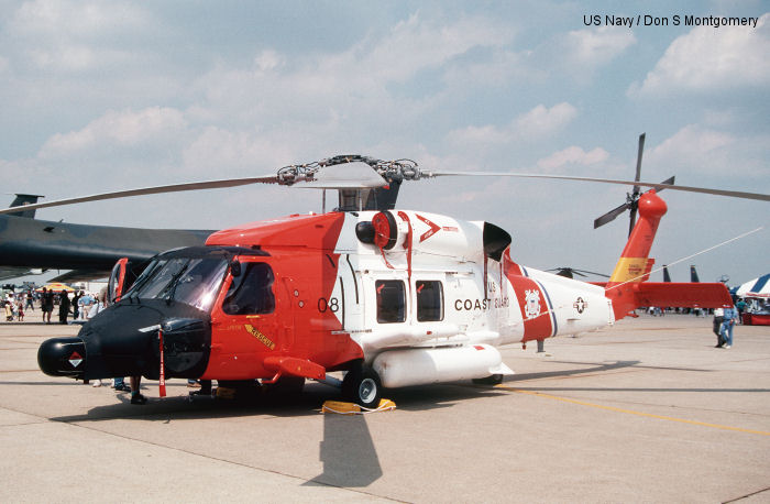 Helicopter Sikorsky HH-60J Jayhawk Serial 70-1565 Register 6008 used by US Coast Guard USCG. Aircraft history and location
