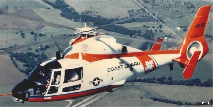 Helicopter Aerospatiale HH-65 Dolphin Serial 6002 Register 4101 6598 901 used by US Coast Guard Heil Ha'Avir (Israeli Air Force). Built 1984. Aircraft history