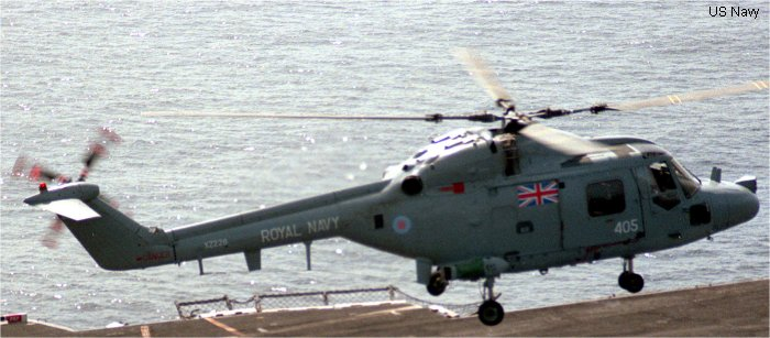 Helicopter Westland Lynx  HAS2 Serial 002 Register XZ228 used by Fleet Air Arm (Royal Navy). Built 1976. Aircraft history