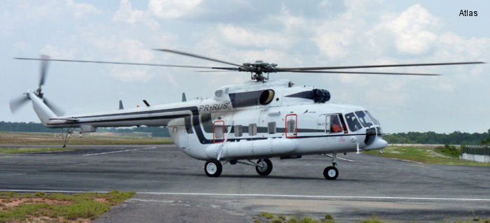 Helicopter Mil Mi-171A1 Serial 5304 Register PR-RUS used by Atlas Taxi Aereo. Aircraft history
