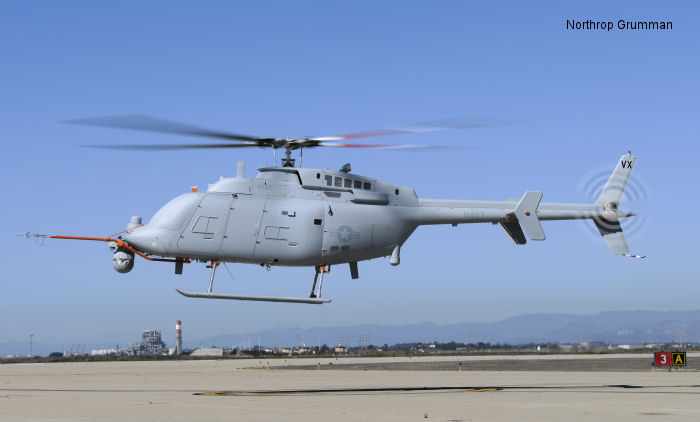 Helicopter Northrop-Grumman MQ-8C Fire Scout Serial 01 Register 168455 used by US Navy USN (United States Naval Aviation). Built 2013. Aircraft history and location