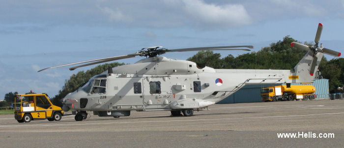 Helicopter NH Industries NH90 NFH Serial 1228 Register N-228 used by Marine Luchtvaartdienst (Royal Netherlands Navy). Aircraft history