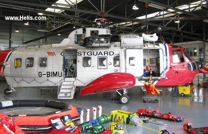 Helicopter Sikorsky S-61N Mk.II Serial 61-752 Register N7563W G-BIMU VH-CRU used by HM Coastguard (Her Majesty's Coastguard) ,Bristow ,British Caledonian Helicopter. Built 1974. Aircraft history and location