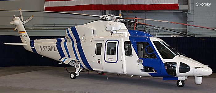 Helicopter Sikorsky S-76C Serial 760576 Register EC-JES N576ML N7107J used by INAER Administraciones Locales (Local Government) Sikorsky Helicopters. Built 2005. Aircraft history