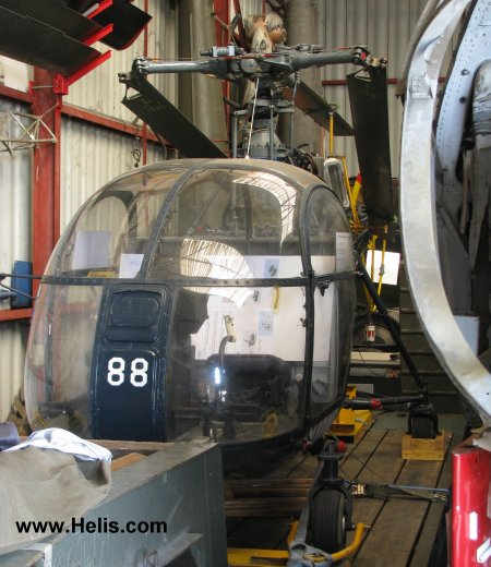 Helicopter Aerospatiale SE3130  Alouette II Serial 1488 Register 488 used by Aéronautique Navale (French Navy). Aircraft history