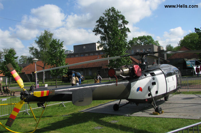 Helicopter Aerospatiale SE3160 / SA316A Alouette III Serial 1253 Register A-253 used by Koninklijke Luchtmacht (Royal Netherlands Air Force). Built 1965. Aircraft history