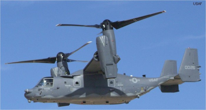 Helicopter Bell CV-22B Osprey Serial D1007 Register 04-0026 used by US Air Force. Aircraft history