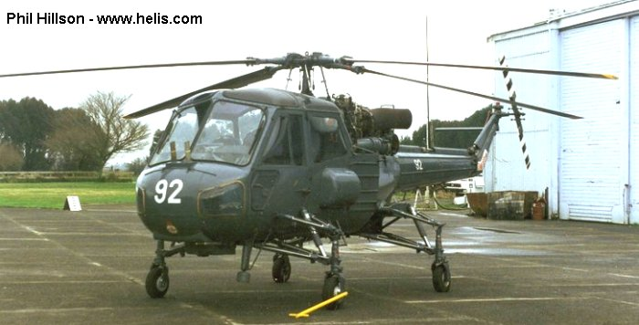 Helicopter Westland Wasp Serial f.9754 Register G-BYCX 92 used by Suid-Afrikaanse Lugmag SAAF (South African Air Force). Built 1973. Aircraft history and location