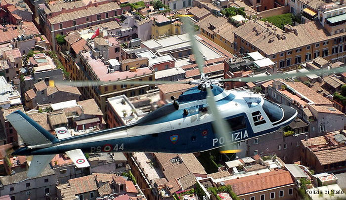 Helicopter Agusta A109a Serial 7141 Register MM80744 used by Polizia di Stato (Italian Police). Built 1979. Aircraft history and location