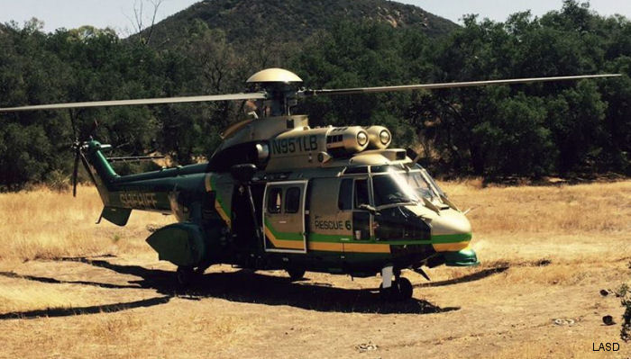 Helicopter Eurocopter AS332L1 Super Puma Serial 9003 Register N951LB N486AE used by State of California. Built 2003. Aircraft history and location