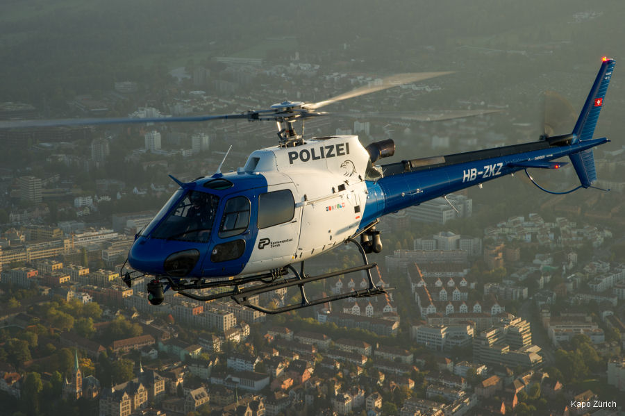 Helicopter Eurocopter AS350B3 Ecureuil Serial 4913 Register HB-ZKZ used by Schweizer Polizei (Swiss Police) Heli-Linth AG. Built 2010. Aircraft history and location