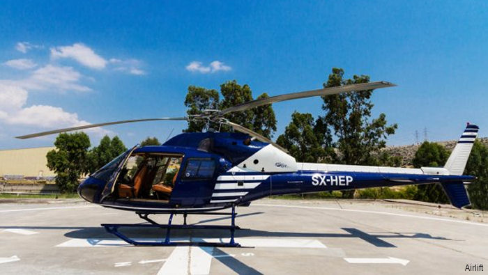 Helicopter Aerospatiale AS355F Ecureuil 2 Serial 5110 Register OE-XWS SX-HEP F-WQDM N355DS used by Airlift SA ,Eurocopter France. Aircraft history and location