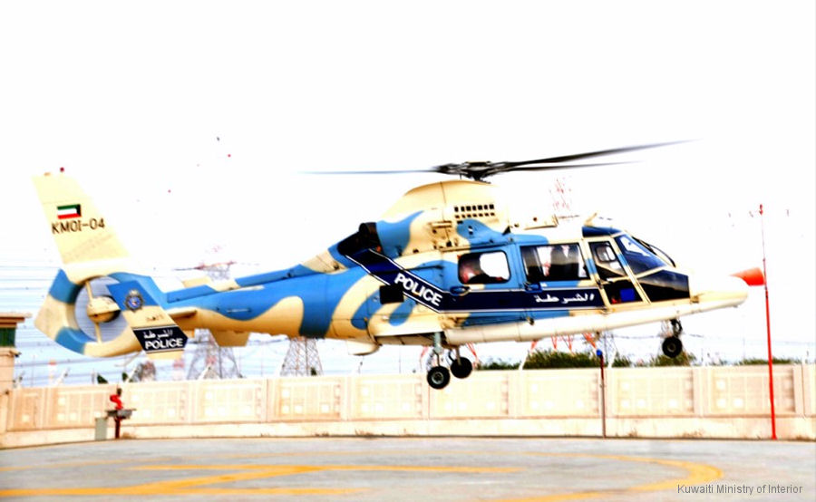 Helicopter Eurocopter AS365N3 Dauphin 2 Serial 6701 Register KMOI-04 used by Kuwait Ministry of Interior. Aircraft history and location
