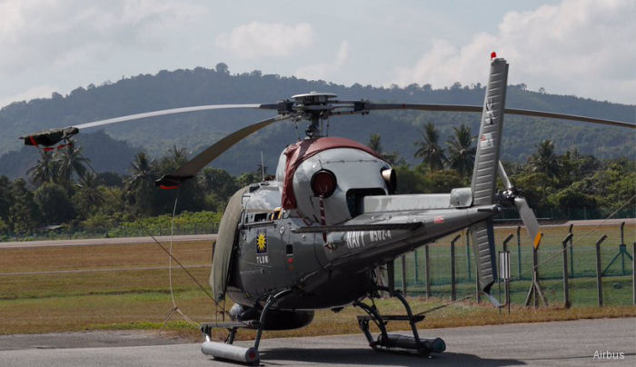 Helicopter Eurocopter AS555SN Fennec 2 Serial 5711 Register M502-2 used by Tentera Laut Diraja Malaysia (Royal Malaysian Navy). Aircraft history and location