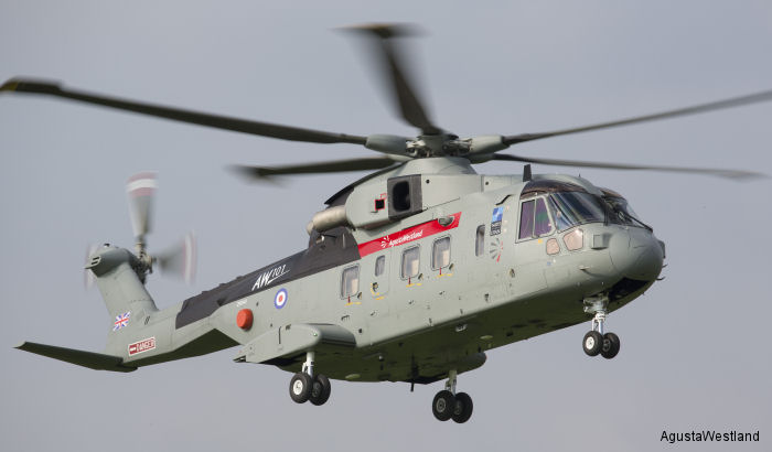 Helicopter AgustaWestland AW101 641 Serial 50248 Register ZR343 used by AgustaWestland UK. Built 2012. Aircraft history