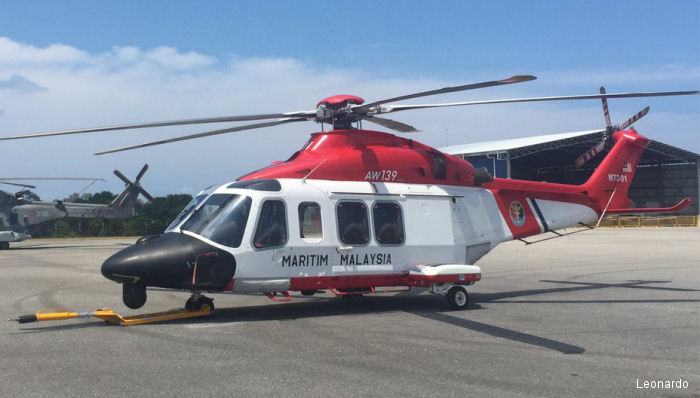Helicopter AgustaWestland AW139 Serial 31307 Register M72-01 used by Agensi Penguatkuasaan Maritim Malaysia (Malaysian Maritime Enforcement Agency). Aircraft history and location