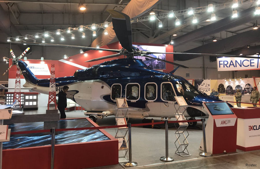 Helicopter AgustaWestland AW139 Serial 60001 Register RA-01996 601 used by Russian Helicopters. Built 2012. Aircraft history and location